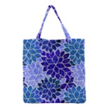 Azurite Blue Flowers Grocery Tote Bag