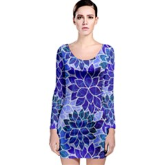 Azurite Blue Flowers Long Sleeve Bodycon Dress by KirstenStar