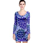 Azurite Blue Flowers Long Sleeve Bodycon Dress