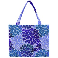 Azurite Blue Flowers Mini Tote Bag by KirstenStar