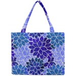 Azurite Blue Flowers Mini Tote Bag