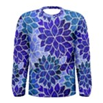 Azurite Blue Flowers Men s Long Sleeve Tee