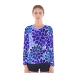 Azurite Blue Flowers Women s Long Sleeve Tee