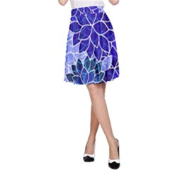 Azurite Blue Flowers A Line Skirt by KirstenStar