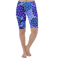 Azurite Blue Flowers Cropped Leggings