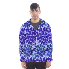 Azurite Blue Flowers Hooded Wind Breaker (men) by KirstenStar