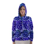 Azurite Blue Flowers Hooded Wind Breaker (Women)