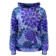 Azurite Blue Flowers Women s Pullover Hoodie