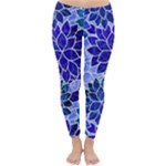 Azurite Blue Flowers Winter Leggings