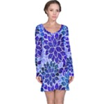 Azurite Blue Flowers Long Sleeve Nightdress