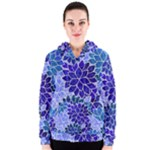 Azurite Blue Flowers Women s Zipper Hoodie