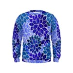 Azurite Blue Flowers Kids  Sweatshirt