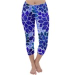 Azurite Blue Flowers Capri Winter Leggings