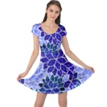 Azurite Blue Flowers Cap Sleeve Dresses