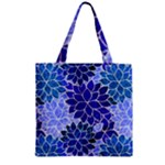 Azurite Blue Flowers Zipper Grocery Tote Bag