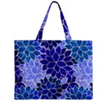 Azurite Blue Flowers Zipper Mini Tote Bag