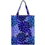 Azurite Blue Flowers Zipper Classic Tote Bag