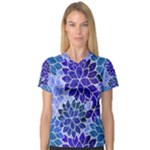 Azurite Blue Flowers Women s V-Neck Sport Mesh Tee