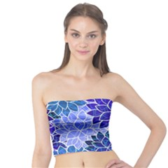 Azurite Blue Flowers Tube Top