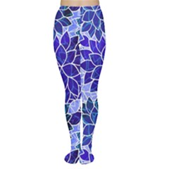 Azurite Blue Flowers Women s Tights