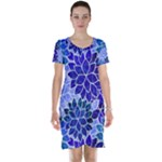 Azurite Blue Flowers Short Sleeve Nightdress