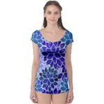 Azurite Blue Flowers Boyleg Leotard (Ladies)
