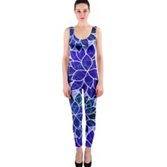 Azurite Blue Flowers OnePiece Catsuit