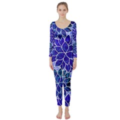 Azurite Blue Flowers Long Sleeve Catsuit