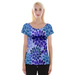 Azurite Blue Flowers Women s Cap Sleeve Top