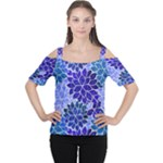 Azurite Blue Flowers Women s Cutout Shoulder Tee