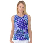 Azurite Blue Flowers Women s Basketball Tank Top
