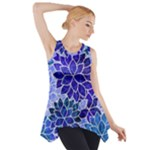 Azurite Blue Flowers Side Drop Tank Tunic