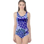 Azurite Blue Flowers One Piece Swimsuit