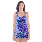 Azurite Blue Flowers Skater Dress Swimsuit