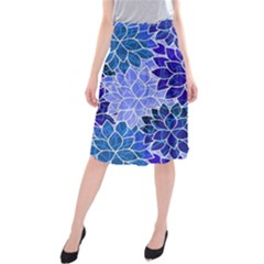 Azurite Blue Flowers Midi Beach Skirt by KirstenStar