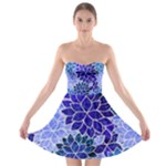 Azurite Blue Flowers Strapless Dresses