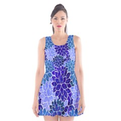 Azurite Blue Flowers Scoop Neck Skater Dress by KirstenStar