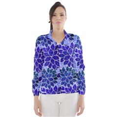 Azurite Blue Flowers Wind Breaker (women) by KirstenStar