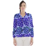 Azurite Blue Flowers Wind Breaker (Women)