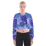 Azurite Blue Flowers Women s Cropped Sweatshirt