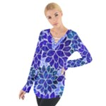 Azurite Blue Flowers Women s Tie Up Tee