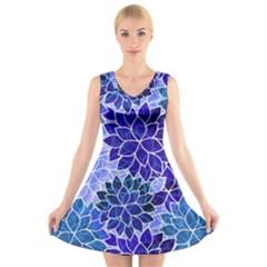 Azurite Blue Flowers V Neck Sleeveless Skater Dress by KirstenStar