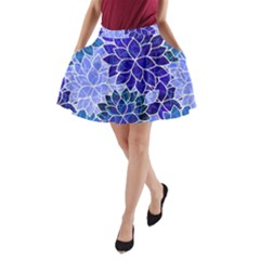 Azurite Blue Flowers A Line Pocket Skirt by KirstenStar