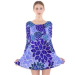 Azurite Blue Flowers Long Sleeve Velvet Skater Dress