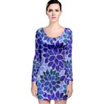 Azurite Blue Flowers Long Sleeve Velvet Bodycon Dress
