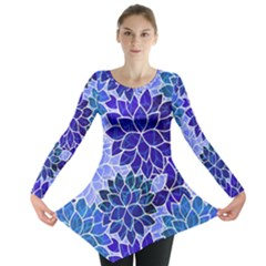 Azurite Blue Flowers Long Sleeve Tunic  by KirstenStar