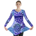 Azurite Blue Flowers Long Sleeve Tunic