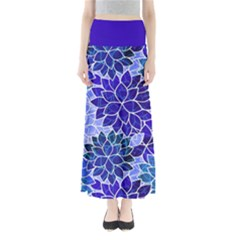 Azurite Blue Flowers Maxi Skirts by KirstenStar