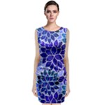 Azurite Blue Flowers Classic Sleeveless Midi Dress