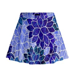 Azurite Blue Flowers Mini Flare Skirt by KirstenStar